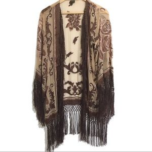 Tops - Silk kimono embroidered with fringe open front